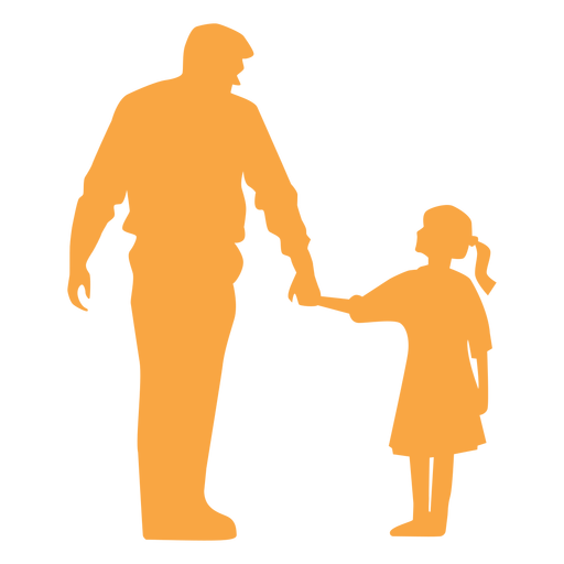 Vater und Tochter Silhouette Transparent PNG