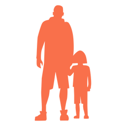 Father and daughter standing silhouette