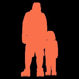 Padre e hija silueta de pie