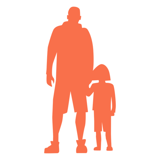 Father and daughter standing silhouette Transparent PNG
