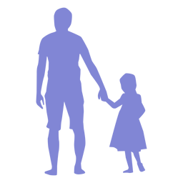 Father and daughter walking silhouette