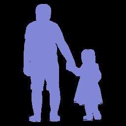 Pai e filha caminhando silhueta