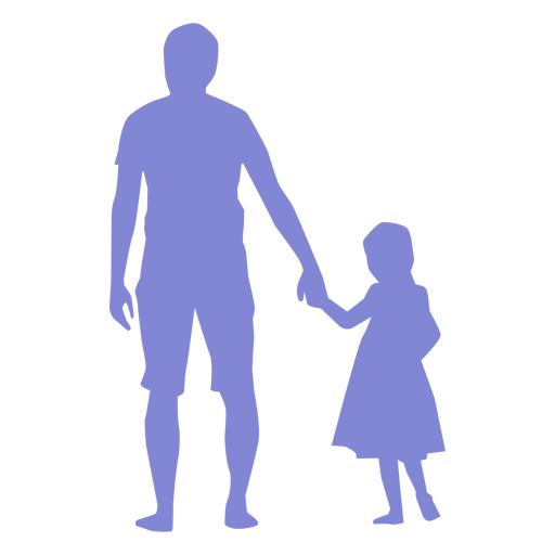 Father and daughter walking silhouette Transparent PNG