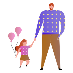 Padre e hija con globos