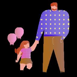 Pai filha, com, balões