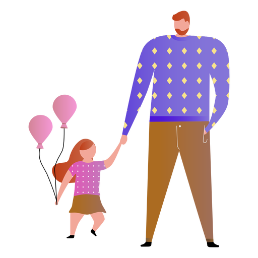 Father and daughter with balloons Transparent PNG