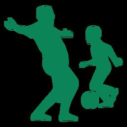Padre e hijo jugando fútbol silueta
