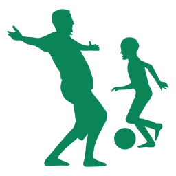 Pai e filho jogando silhueta de futebol