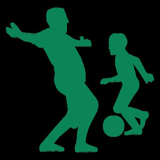 Pai e filho jogando silhueta de futebol Transparent PNG