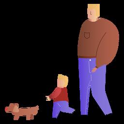 Padre e hijo caminando perro