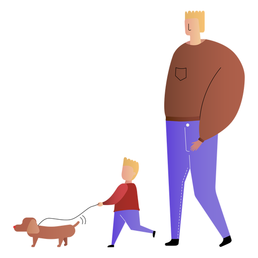 Father and son walking dog Transparent PNG