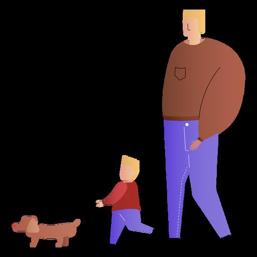 Gehender Hund des Vaters und des Sohns Transparent PNG