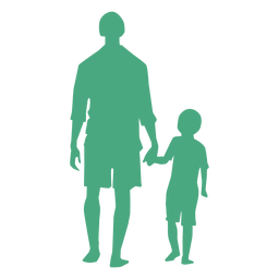 Pai e filho caminhando silhueta
