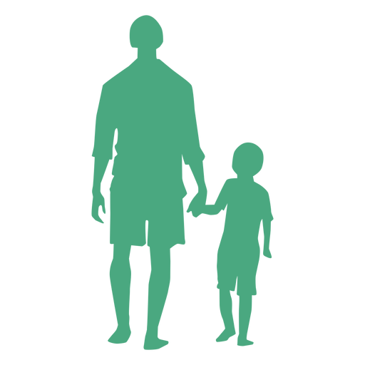 Father and son walking silhouette Transparent PNG