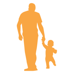 Father and toddler walking silhouette