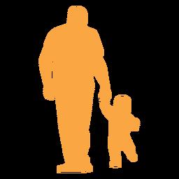 Pai e criança andando silhueta