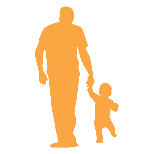 Father and toddler walking silhouette Transparent PNG