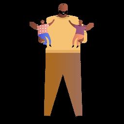 Vater hält zwei Babys