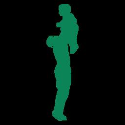 Padre levantando la silueta del hijo