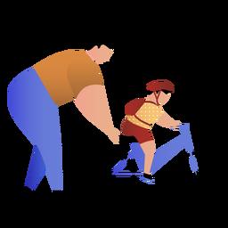 Padre enseña hijo andar en bicicleta