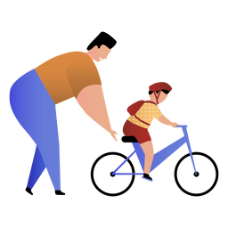 Pai ensina bycicle passeio de filho