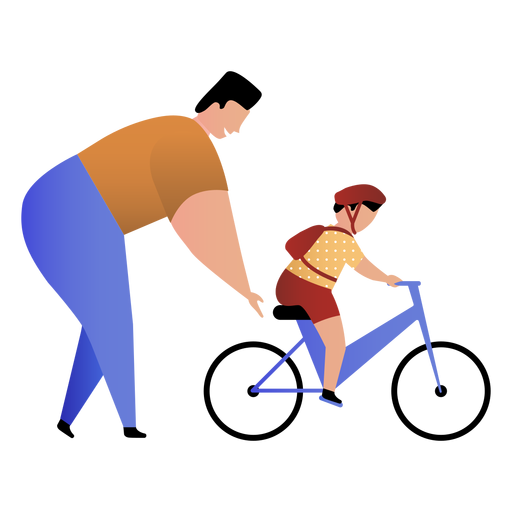 Padre enseña hijo andar en bicicleta Transparent PNG