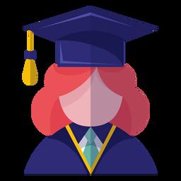Ícone de avatar de pós-graduação feminino