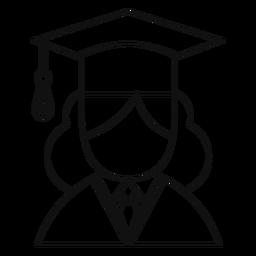 Linha de avatar de pós-graduação feminina