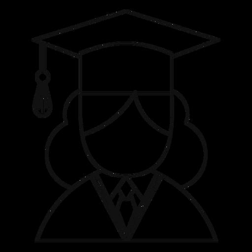 Female graduate avatar line Transparent PNG