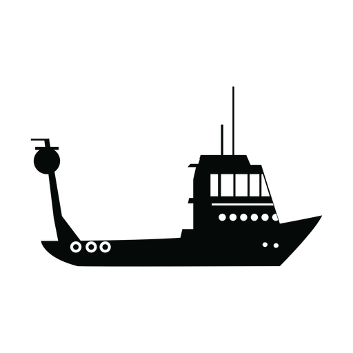 Fishing boat silhouette Transparent PNG