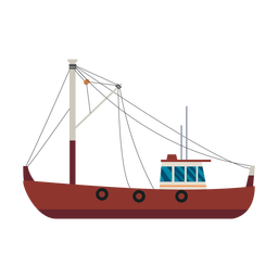 Fishing trawler ship icon