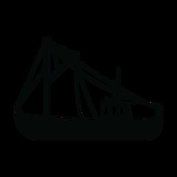 Silhueta de navio de traineira de pesca