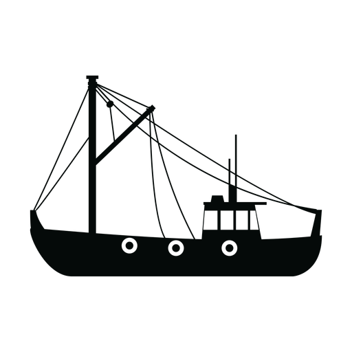 Fishing trawler ship silhouette Transparent PNG