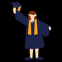 Graduado arrojando sombrero de ilustración básica.