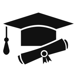 Sombrero de graduación y diploma plana