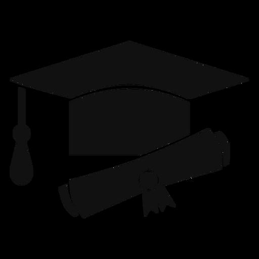 Sombrero de graduación y diploma plano.