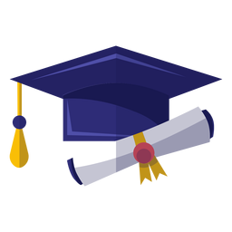 Graduation hat and diploma icon