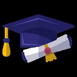 Icono de sombrero y diploma de graduación