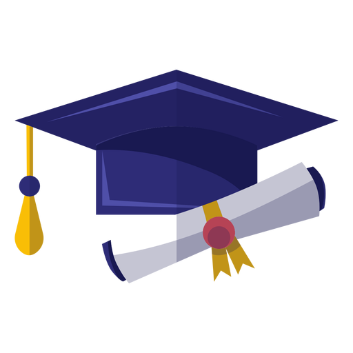 Graduation hat and diploma icon