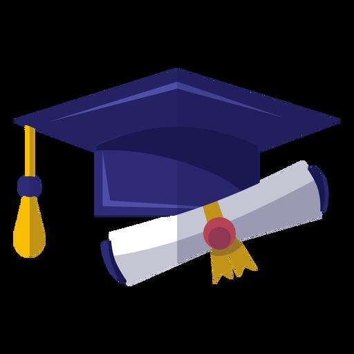 Icono de sombrero y diploma de graduación Transparent PNG