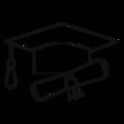 Sombrero de graduación y línea de diploma.