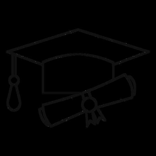 Abschluss Hut und Diplom Linie Transparent PNG