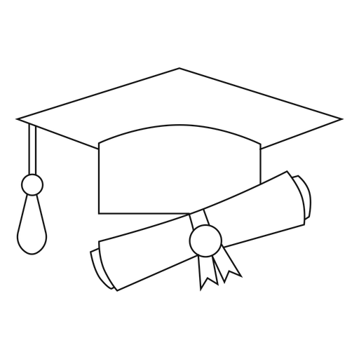 Graduation hat and diploma line Transparent PNG