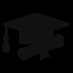 Silueta de sombrero y diploma de graduación