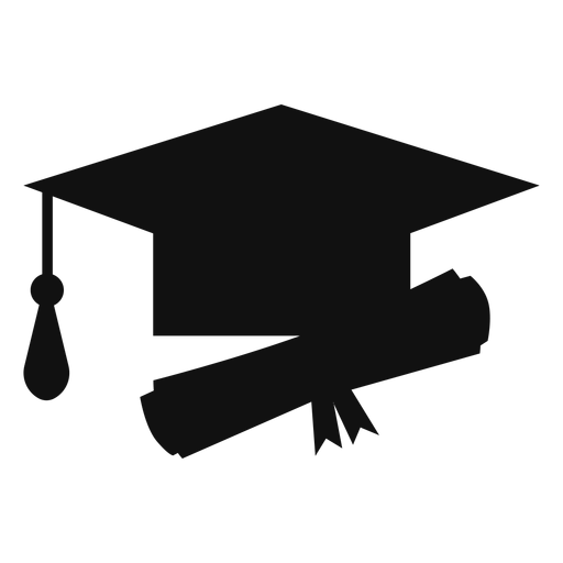 Graduation hat and diploma silhouette Transparent PNG