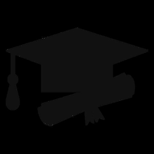 Silueta de sombrero y diploma de graduaci?n