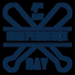 Bates de béisbol día de la independencia plana