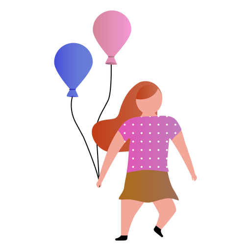 Little girl with balloons Transparent PNG