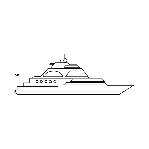 Luxury sailing yacht ship line Transparent PNG