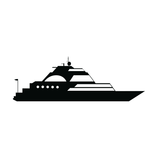 Luxury sailing yacht ship silhouette Transparent PNG